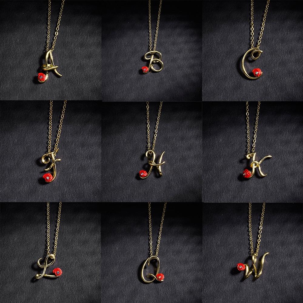 Cristal a z 26 letras inicial minimalista colar para as mulheres charme alfabeto pingente colar amigos presente da família jóias