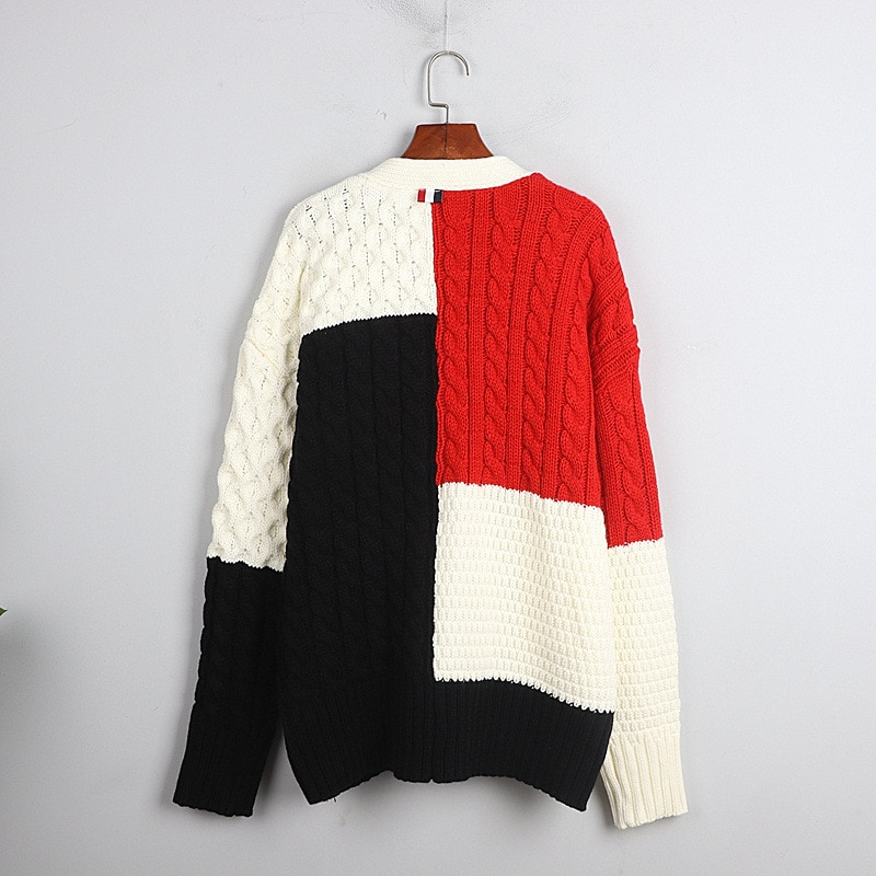 1101 2020   Autumn Sweater Free Shipping V  Neck Long Sleeve Kint   Black White Panelled Fashion Womens Clothes  S m L    dl enlarge
