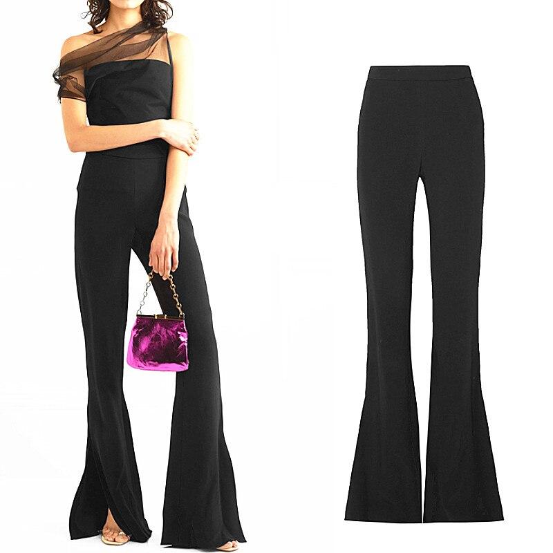 Женские брюки в пол, Европейский стиль, высокое качество, обтягивающие брюки с разрезом, декоративные плиссированные брюки с высокой талией...