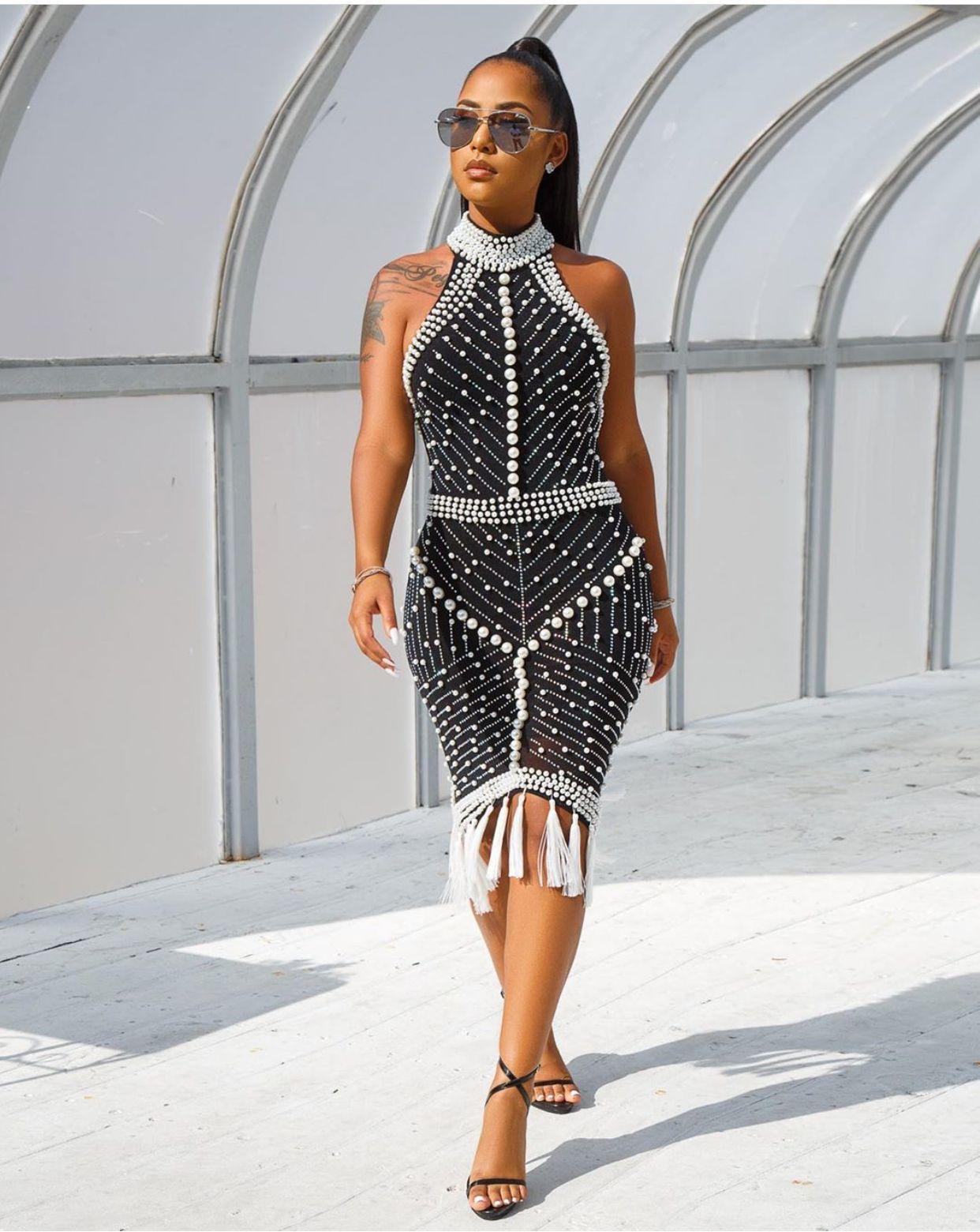 2019 европейский и американский модный воротник, горловина, без рукавов, бедра, талия, сексуальная, Горячая дрель, бусина, платье с кисточками.
