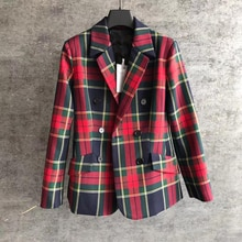 Cosmicchic 2109 Autumn Winter Women Red Plaid Wool Blazer Double Breasted Vintage Runway Design Blazer Coat Lady Office Outwear