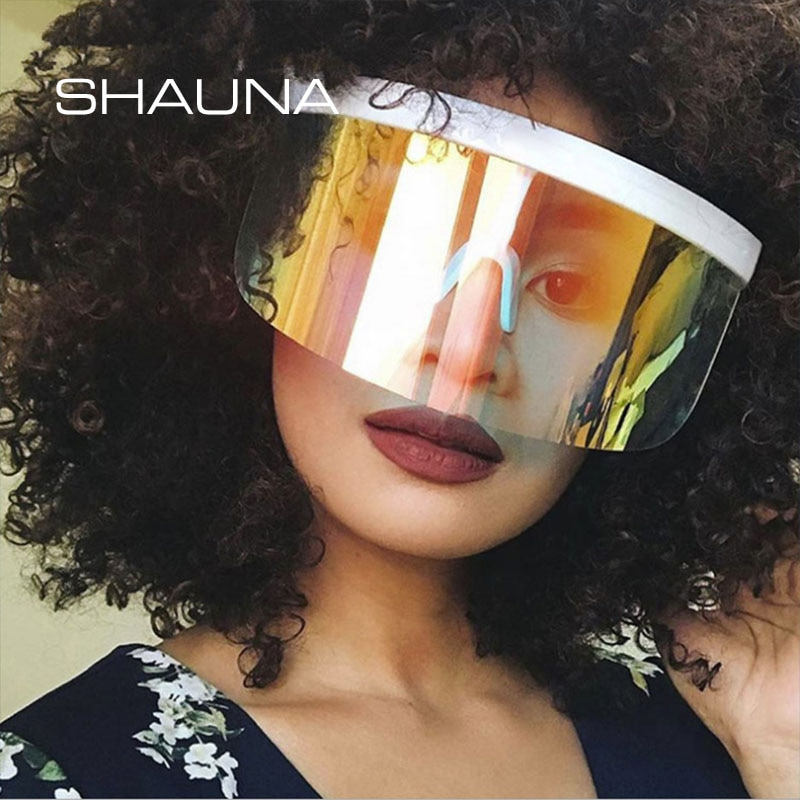 SHAUNA Oversized One Piece Hlaf Frames Sunglasses Women Fashion Outdoor Sports Windproof Goggles Men