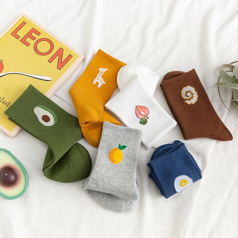 5 Pairs/Pack Unisex Funny Fruit Men Socks Harajuku Colorful Mid Socks Men 100 Cotton Kawaii Size 35-42 enlarge