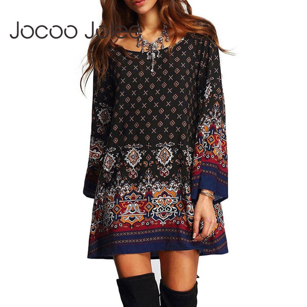 AliExpress - Jocoo Jolee Vintage Ethnic Chiffon Dress Casual Geometric Print Loose Dress Ladies Summer Boho holiday Beach Party Mini Dress