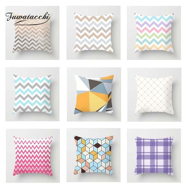 Fuwatacchi, funda de cojín a rayas geométricas, funda de cojín suave rosa, funda de almohada para sofá decorativa, funda de almohada