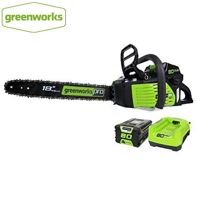البنزين سلسلة شد مرنة المنشار GreenWorks برو GCS80420 80 فولت 18 بوصة بالمنشار اللاسلكي ، مع بطارية 5.0ah ، تماما 45cc محرك الغاز