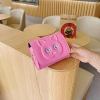 fashion chain girls baby mini coin purse handbags princess wallet square shoulder bag lovely cat childrens small crossbody bags