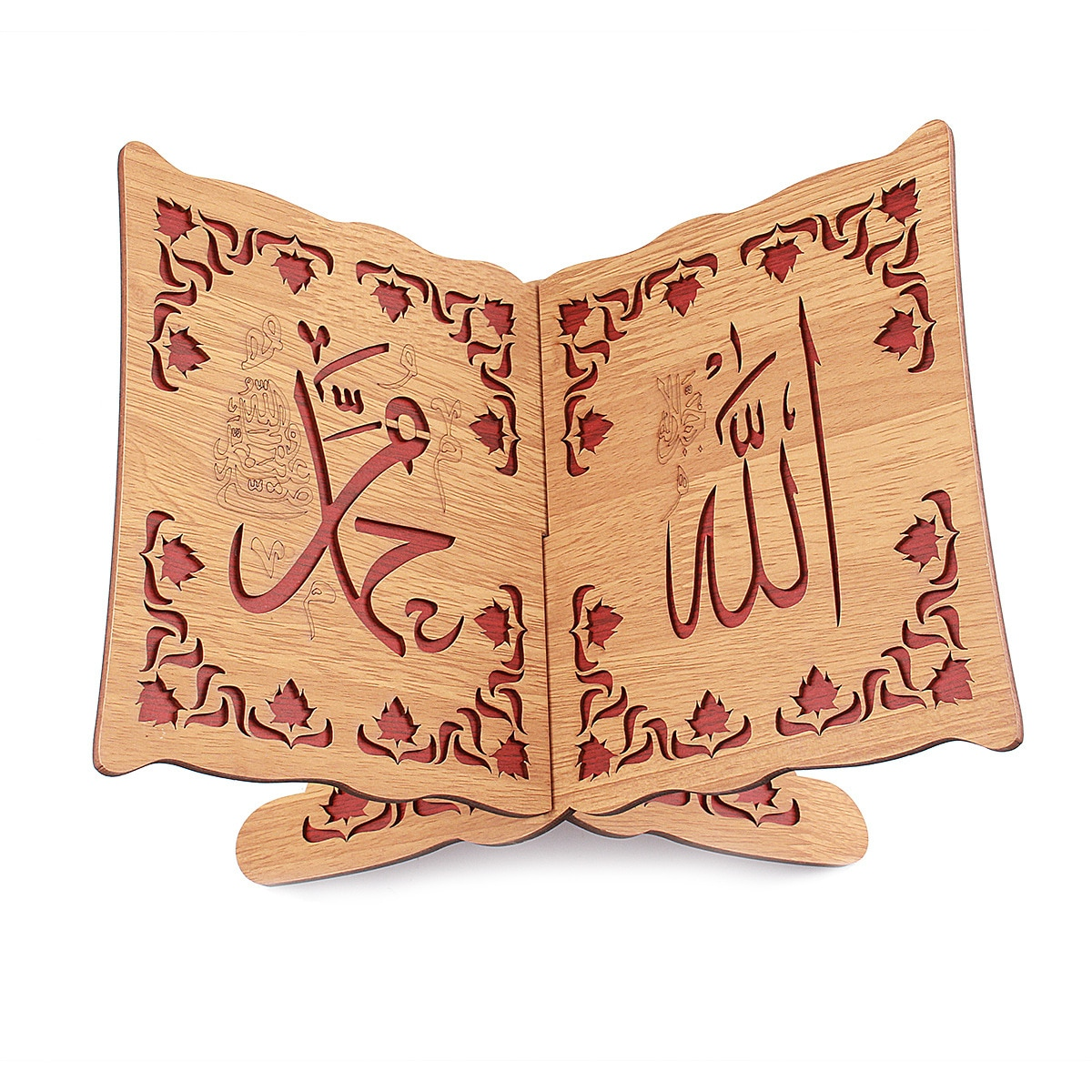 20x30cm estante de madeira média para muçulmanos islâmicos alcorão estante decoração para casa