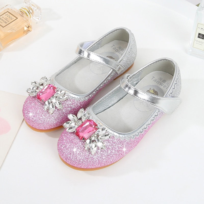Girl Aisha Princess shoes 2020 spring and autumn children's soft-soled single shoes baby leather shoes crystal shoes enlarge