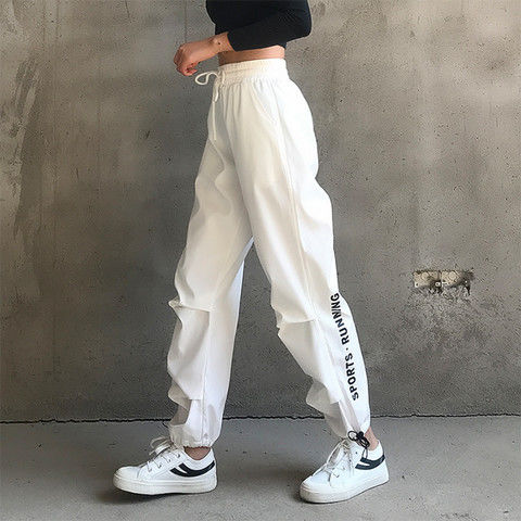 Korean Style Loose Leg and Feet Sweatpants Women Spandex Quick-drying Gym Black White Trousers Running Yoga Overalls female rogue s loli with the tight fitting high footed sweatpants female autumn quick drying running ankle length yoga trousers
