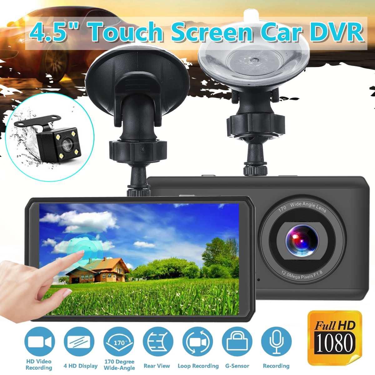 KROAK 1080P 4.5 inch FHD Car DVR Black Dashboard Night Vision Camera Video touching screen Recorder Loop Recording Mini Dash