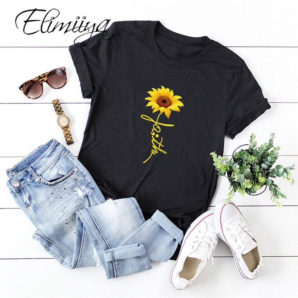 Elimiiya, camiseta creativa de talla grande con estampado de girasol para mujer, Camiseta con cuello redondo, camisetas informales con estampado de dibujos animados para mujer