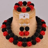 graceful black and red crystal beads african jewelry set nigerian necklace set fzz96 04