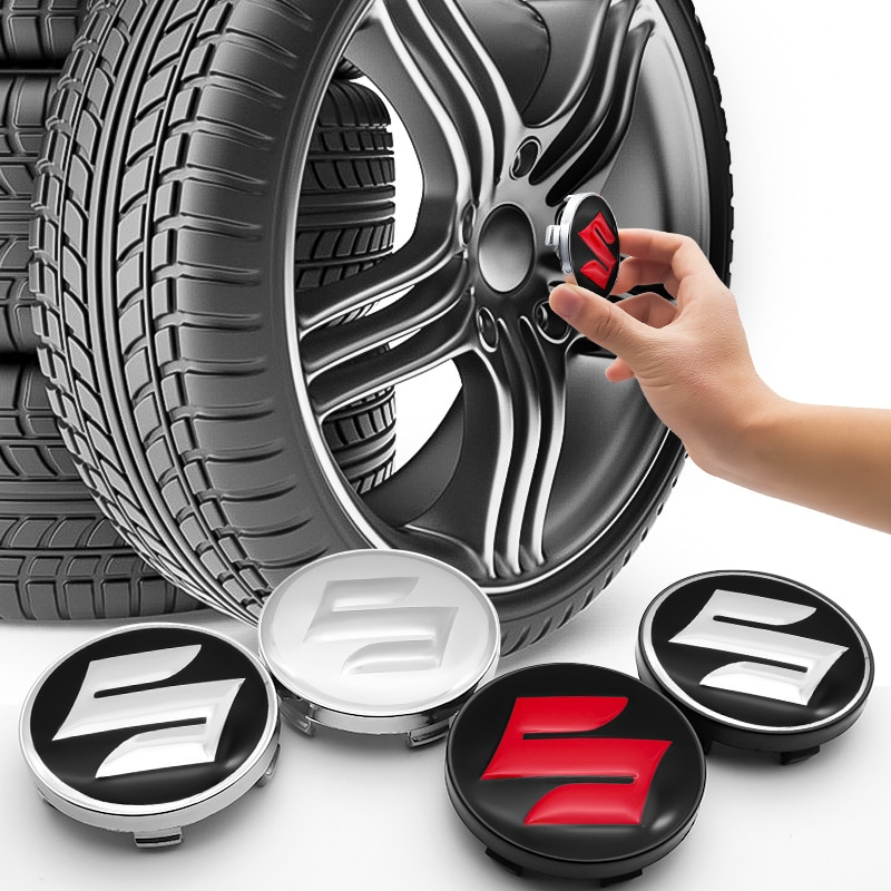 60mm 3D wheel center hub cover logo sticker decals hub center cover for SUZUKI- CELERIO Spacia Baleno SX4 VITARA Jimny  - buy with discount