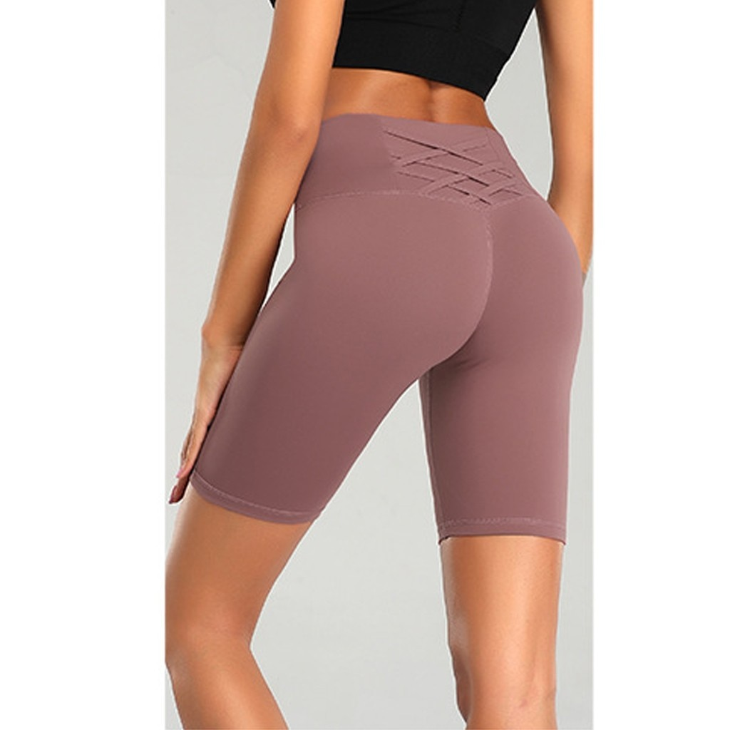 Fitness Leggings cortos de cintura alta para mujer Pantalones cortos deportivos Skinny Push Up Legging Ladies Jogger Sweatpant entrenamiento gimnasio Mini pantalón