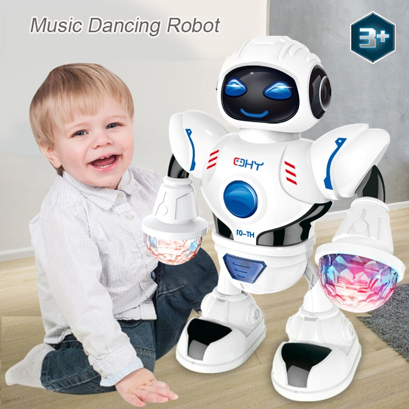 Newest Space Dazzling Music Robot Shiny Educational Toys Electronic Walking Dancing Smart Space Robo