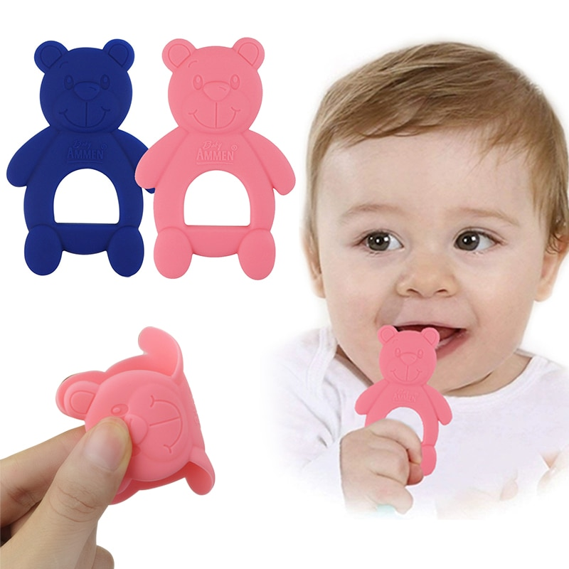 Baby Dental Care Silicone Teether Safe Material Silicone Animal Bear Molar Stick Baby Bite Cartoon T