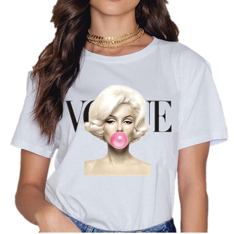 Camiseta de moda para Mujer, ropa de Verano, letra Harajuku Vogue, top...