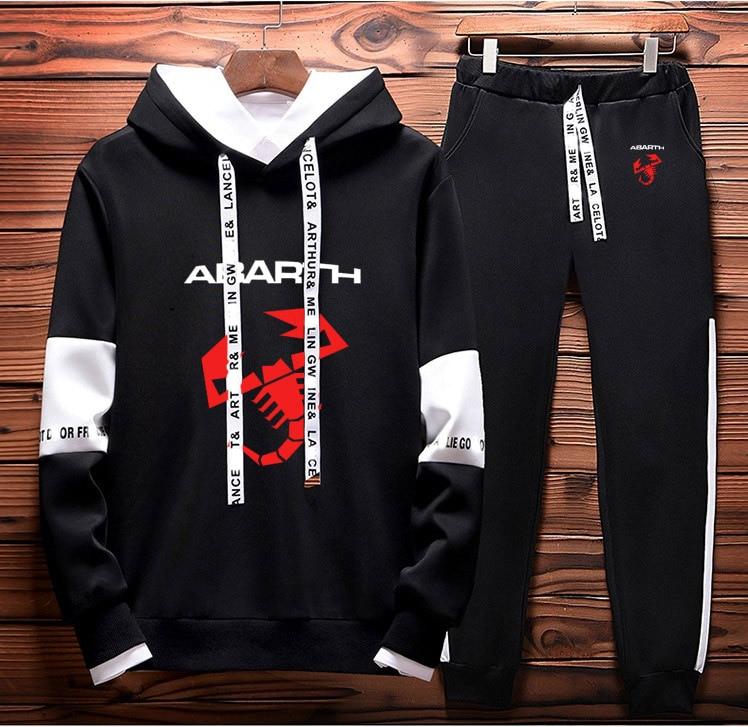 Hoodies Men Abarth Car Logo Printed unisex Sweatshirt Fashion Men Hoodie+Pants 2Pcs Sporting suit Fleece Warm Thick sportwear