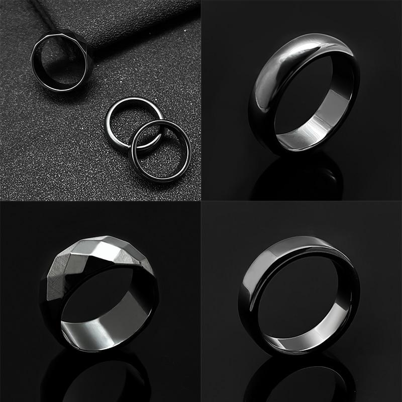 Unisex Minimalist Hematite Rings for Women Men 6 mm Width Flat Black Non-magnetic Couple Natural Sto