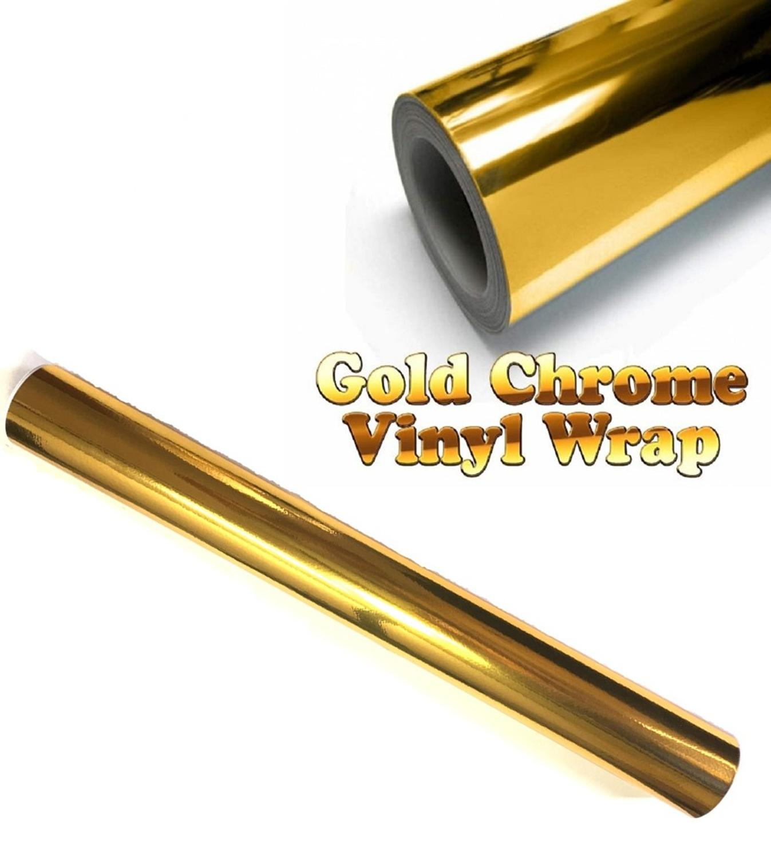 """300mm x 1520mm ouro dourado chrome ar livre espelho vinil envoltório filme adesivo folha decalque 12 """"x 60"""" emblema adesivo estilo do carro"""