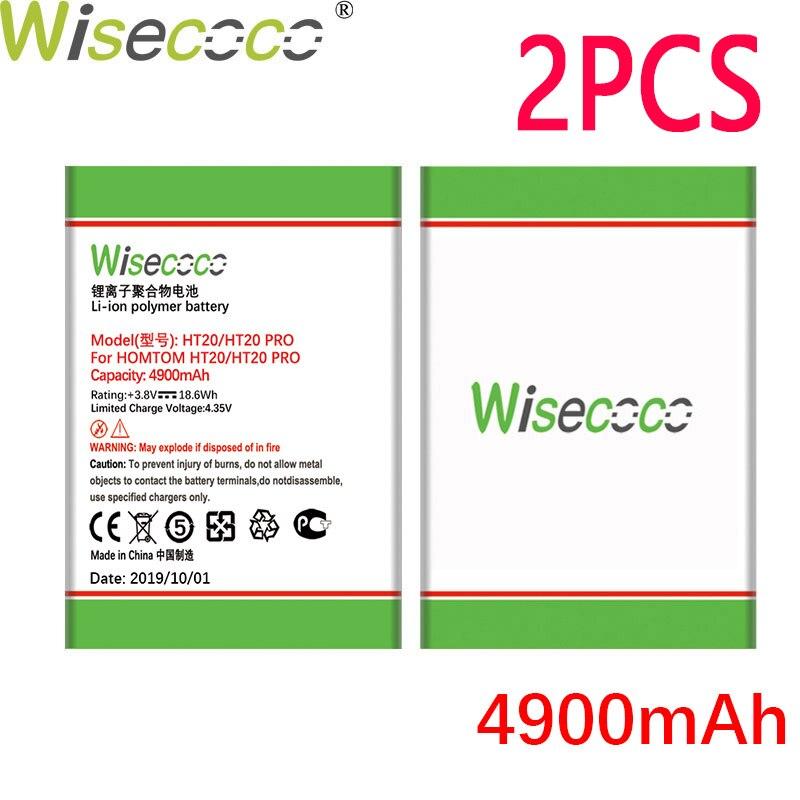Wisecoco 2 pçs 4900 mah bateria para homtom ht20/ht20 pro telefone em estoque mais recente produção de alta qualidade bateria + número de rastreamento