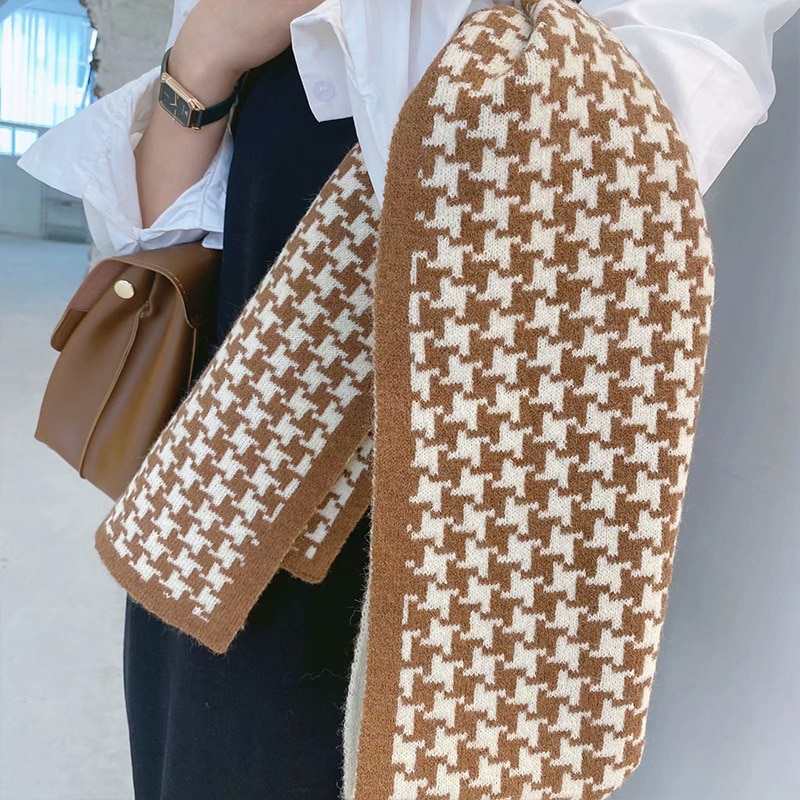 2021 Korean autumn and winter new thousand bird lattice scarf imitation cashmere long women's scarf fashion thickened warm shawl