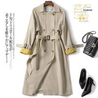 windbreaker womens mid long korean spring 2021 new double breasted british chic popular slim womens coat