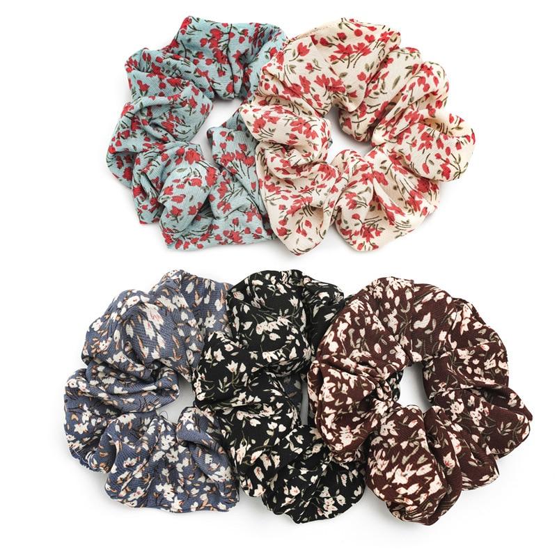 Women Elastic Rubber Band Elegant Ponytail Holder Boho Broken Flower Hair Ring Hairband Hair Rope Circle Hair Accessories 2020