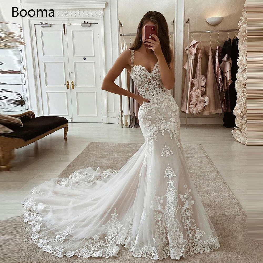 Booma Sweetheart Mermaid Wedding Dresses Spaghetti Straps Lace Appliques Bride Tulle Trumpet Gowns Plus Size