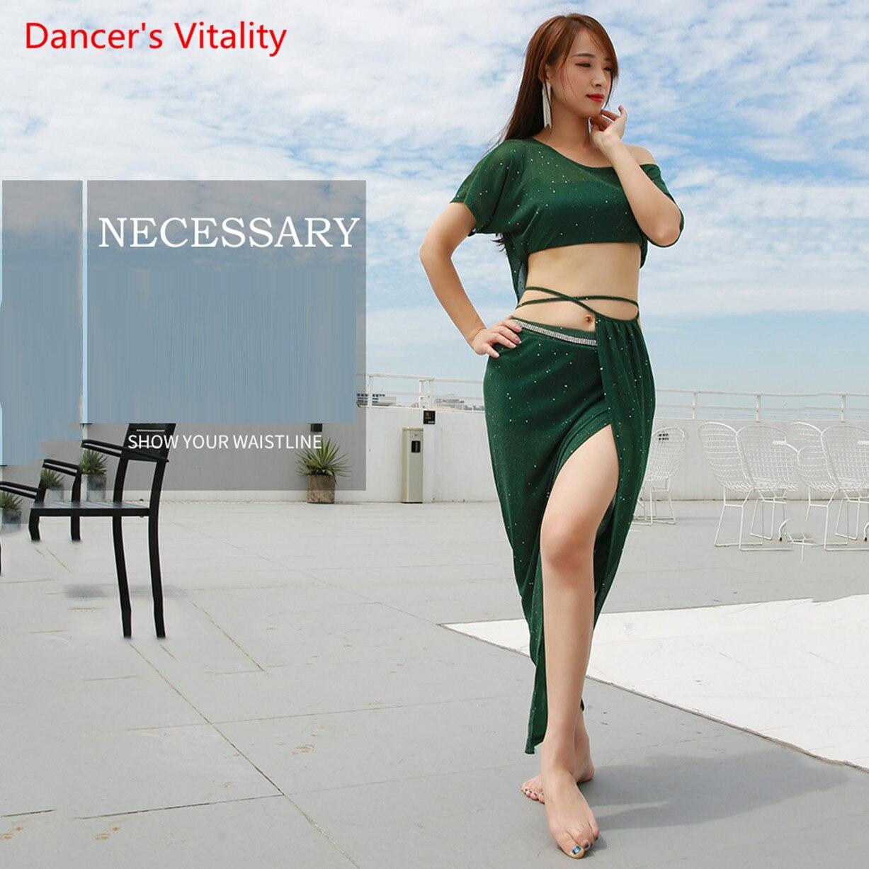 Novedad de verano, ropa para practicar baile para equipo de mujeres, traje de danza del vientre de 2 piezas, Top sexy, falda larga, verde y rosa