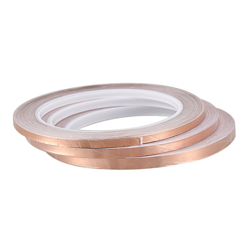 3 uds 20 metros de un solo lado conductor cinta de lámina de cobre de EMI adhesiva escudo de calor resistir cinta (4 Mm/5 Mm/6 Mm)