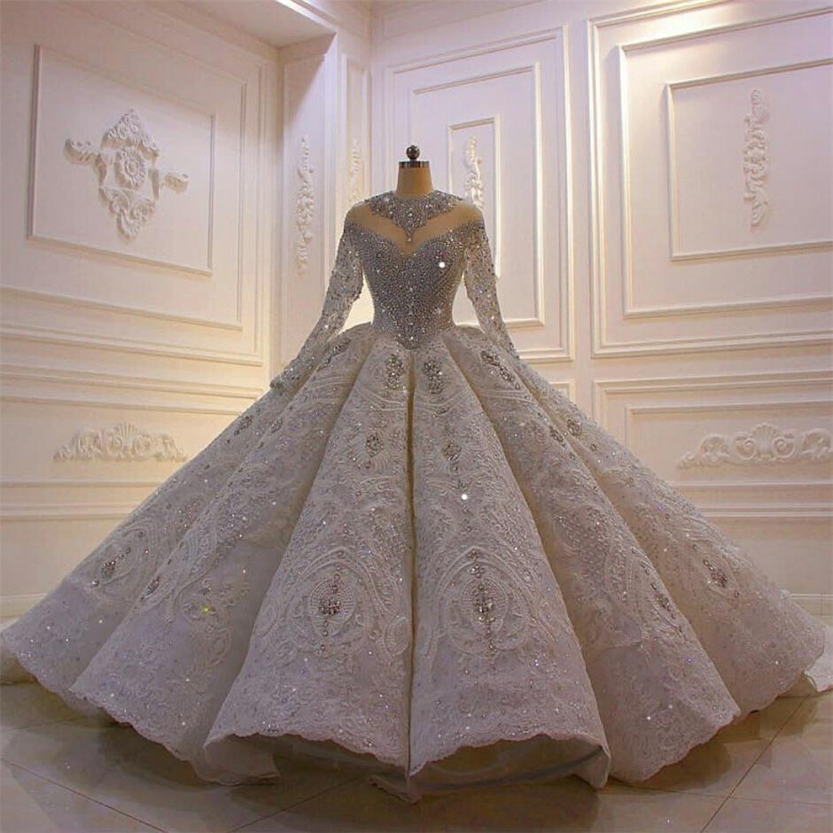 2021 فستان زفاف فاخر من الكريستال ، فستان كرة عتيق ، أكمام طويلة ، دانتيل ، ترتر ، لامع