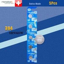 5 X renata óxido de plata pilas para reloj 394 SR936SW 936 1,55 V 100% marca original renata 394 renata 936 batería