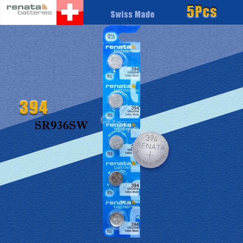 Аккумулятор для часов renata Silver Oxide, 5 шт., 394 SR936SW, 936, 1,55 в, 100% оригинальный бренд, renata 394, renata 936