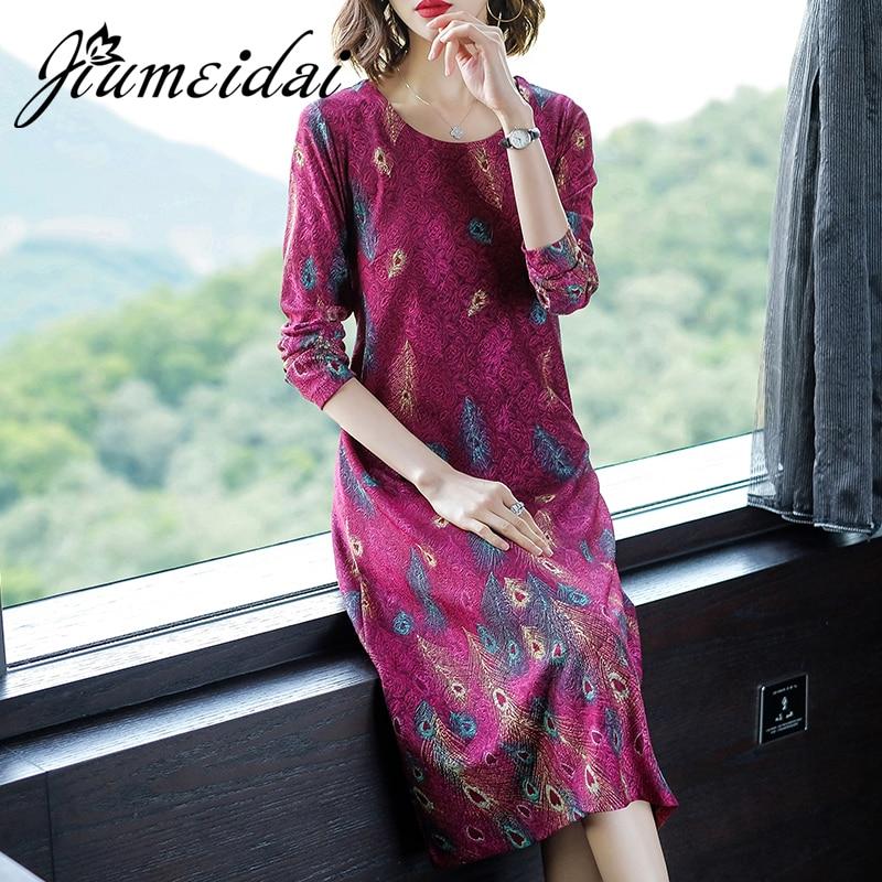 Jiumeidai plus size feminino a line vestido sexy senhora do escritório elegante impresso vestidos longos feminino o-pescoço casual roupas de festa vintage