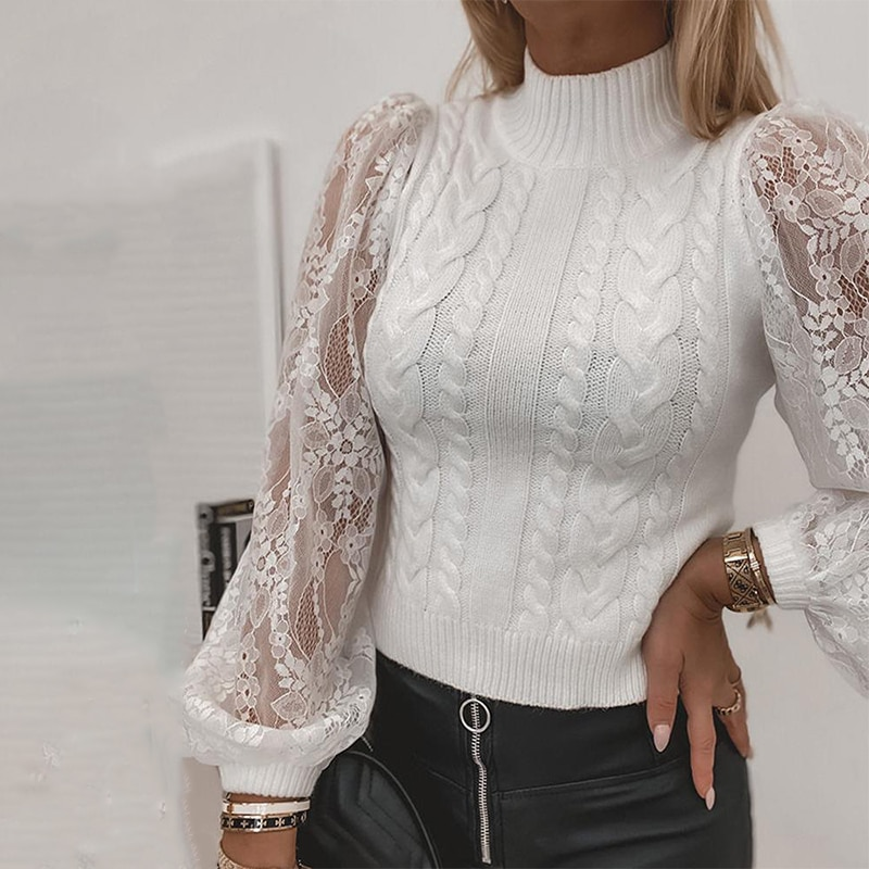 2021 new Mesh lace long sleep sweaters women beautiful