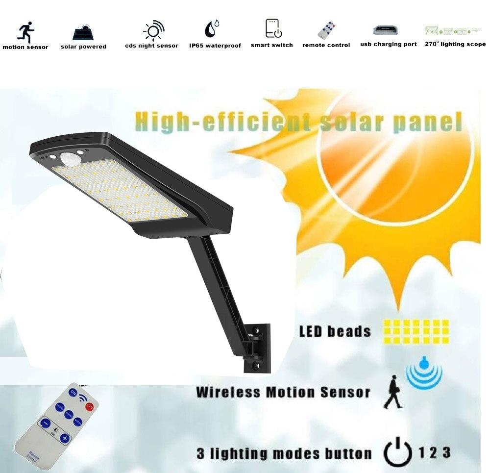 56 Led Solar Light Outdoor Garden wall Lamp Waterproof Lampara Power PIR Motion Sensor Wall Decorat