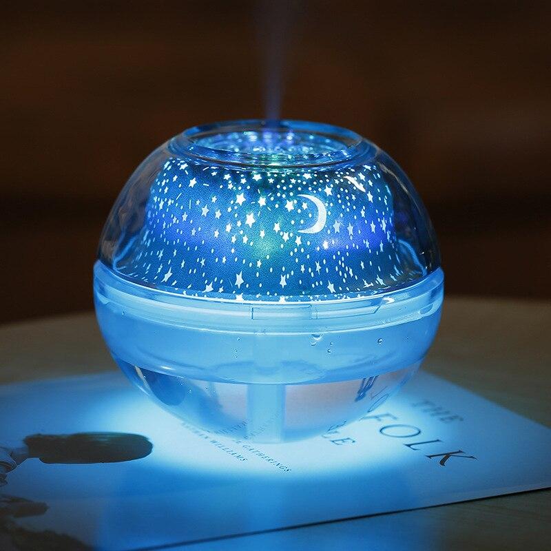 Proyector de cielo estrellado con luz LED, humidificador de 500ml, difusor USB, purificador de aire para habitaci