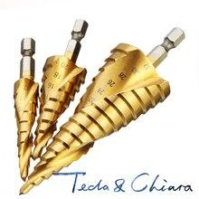 1Set 3Pcs 4-12/20/32mm HSS Spiral Rillen Zentrum Bohrer Vhm mini Drill Zubehör Titan Schritt Cone Drill Bit