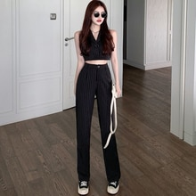 Fashion Suit 2021new Women's Summer Sleeveless Suit Top + Casual Wide-Leg Pants Striped Two-Piece Su