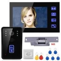 gamwater 7 rfid video door phone intercom doorbell touch button night vision electric strike lock