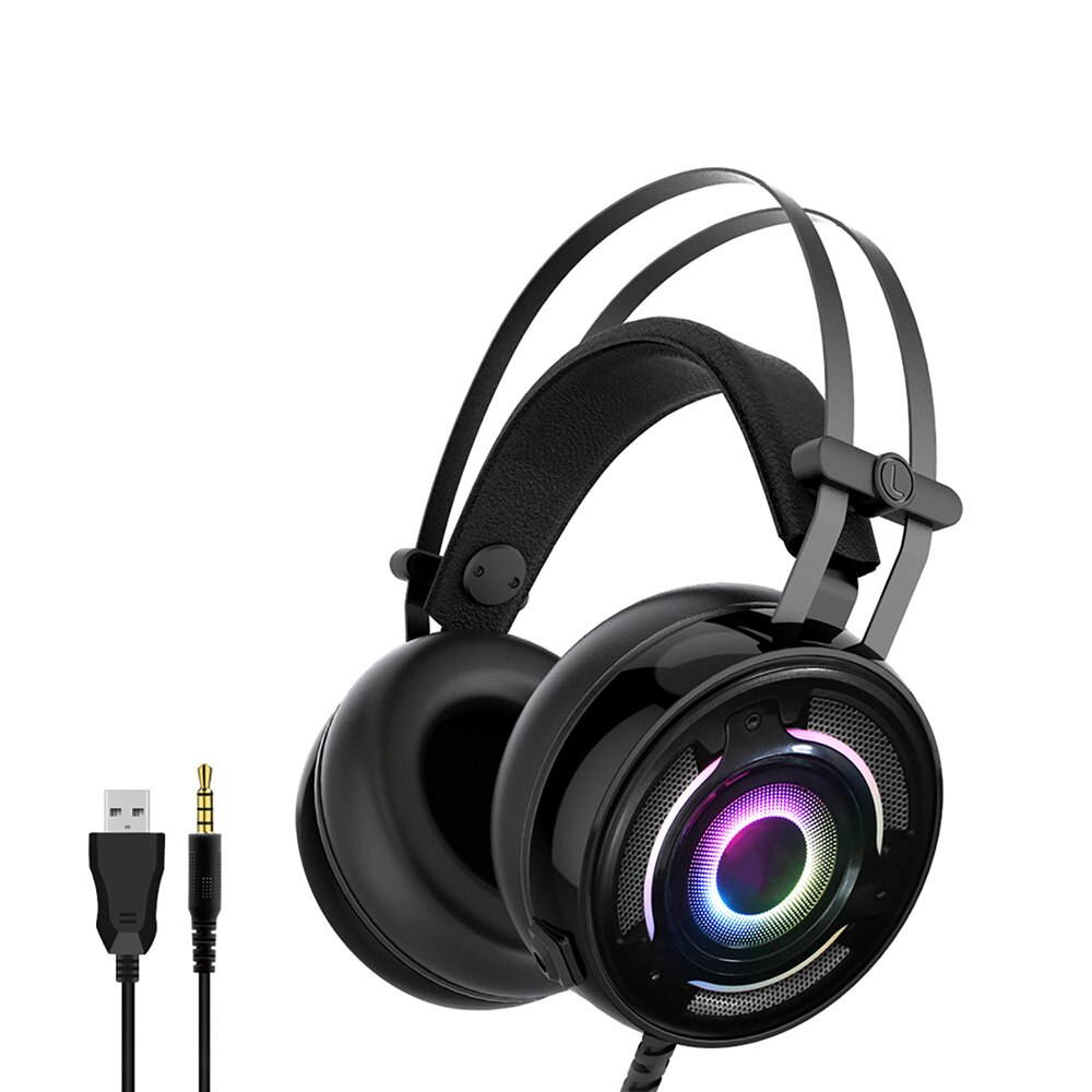 Auriculares retráctiles de cuero para juegos para PS4/ XBox One/n-switch/Switch Lite/ PC/ Tablet/ Phone Headset con enchufe Mic de 3,5 MM