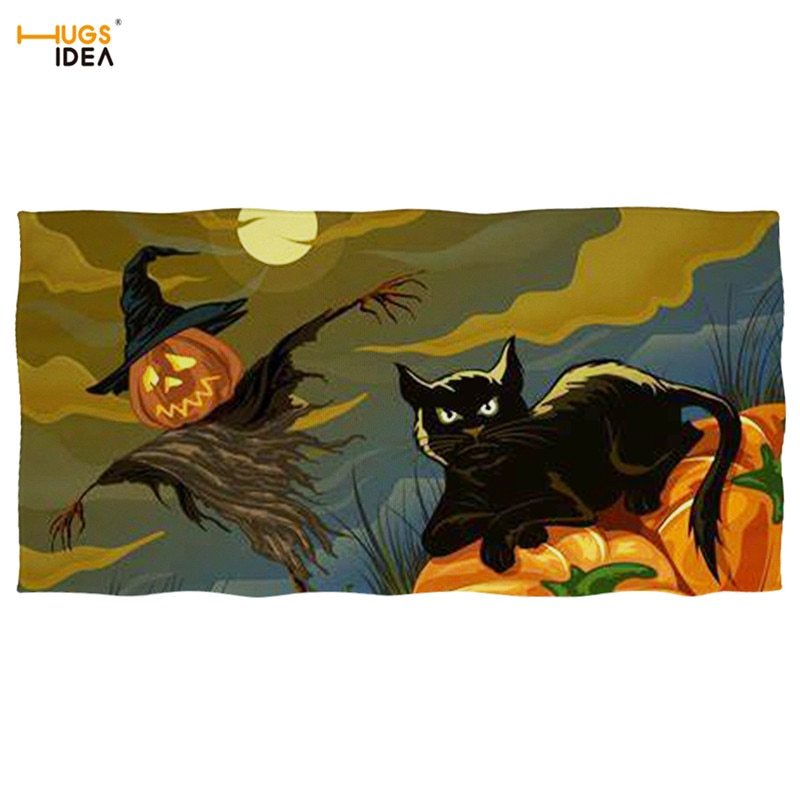 HUGSIDEA Halloween Pumpkin Cat Print 3D Bath Towels for Adults Super Absorbent Home Textile Beach Towel Sport Gym Swimming Towel