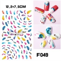 colorful feather love smiley 3d nail slider penguin cartoon animal sticker star balloon cat nail decoration decal f049