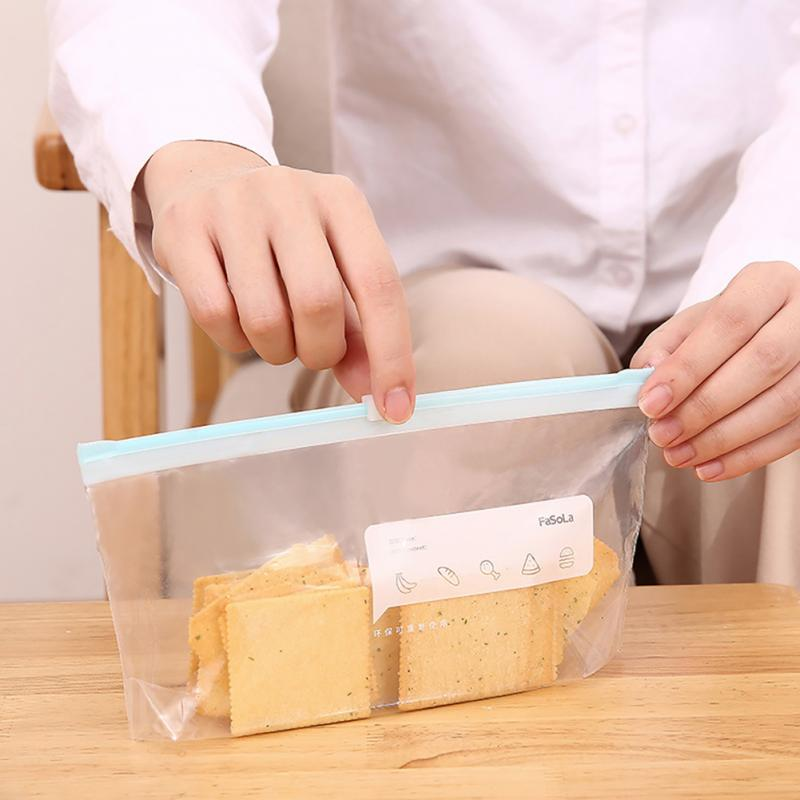 Толстая прозрачная сумка на молнии для хранения продуктов, контейнер для хранения свежих продуктов в холодильнике, Сумка с раздвижным замк...