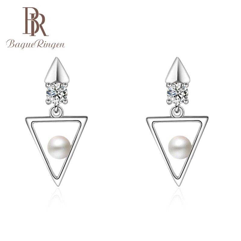 Bague ringen geometria triângulo simples brincos de pérola para as mulheres estilo coreano prata 925 jóias senhora do escritório 3a ziron presente reunião