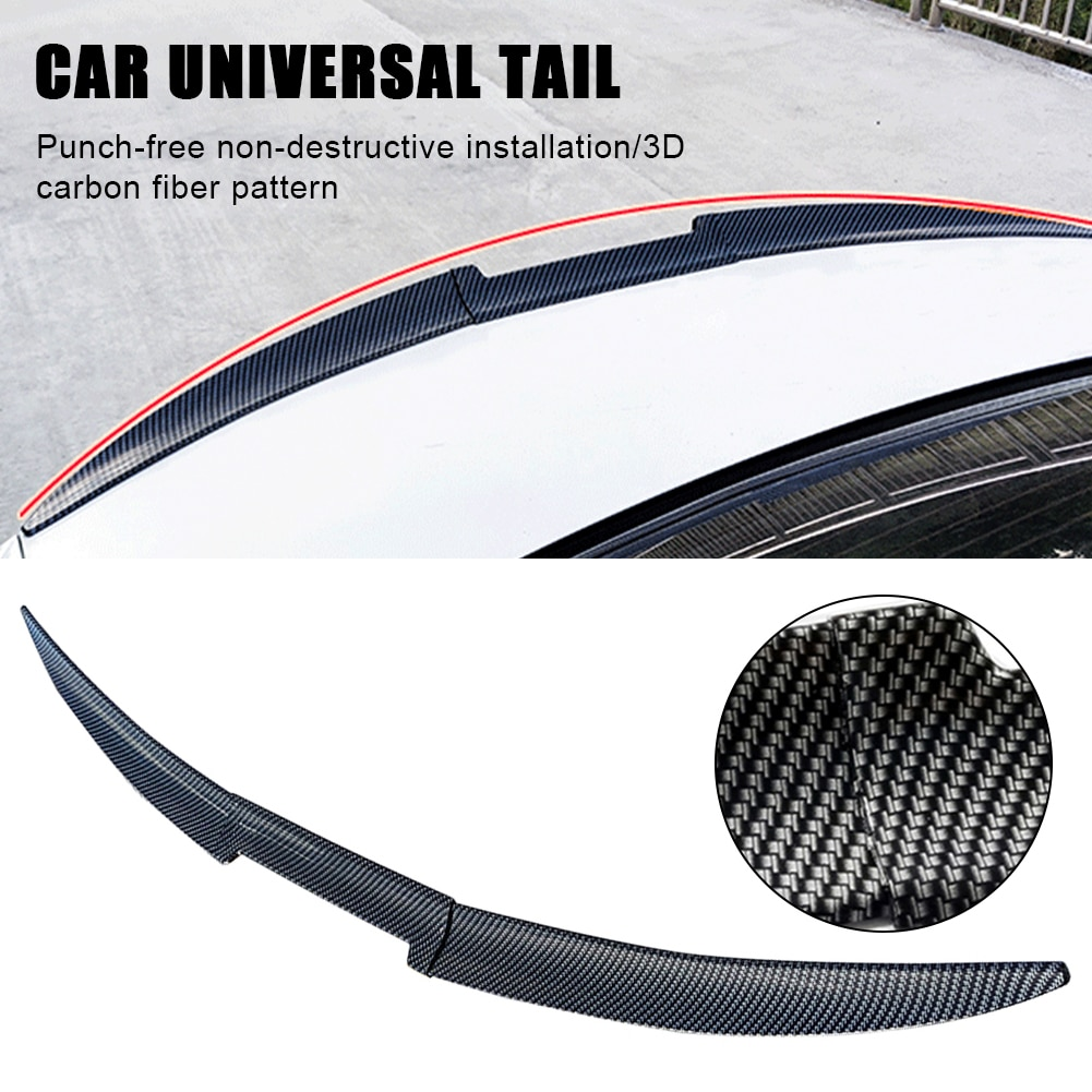Car Styling Rear Trunk Spoiler Universal For Auto Rear Trunk Lip Carbon Fiber PU Leather Wing Spoiler Car Exterior Decorations car styling frp fiber glass nefd rear spat large fit for hyundai veloster turbo only