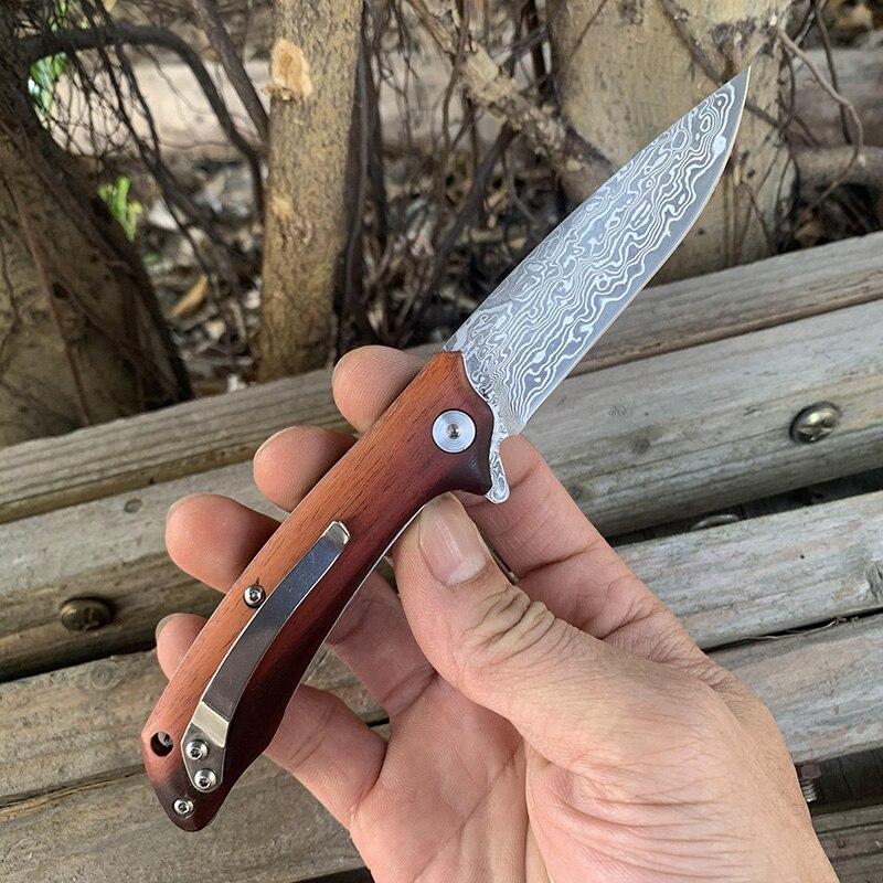 Sandalia roja Natural, cuchillo plegable de madera SAMSEND, herramienta de colección de hermoso cuchillo de acero damasco