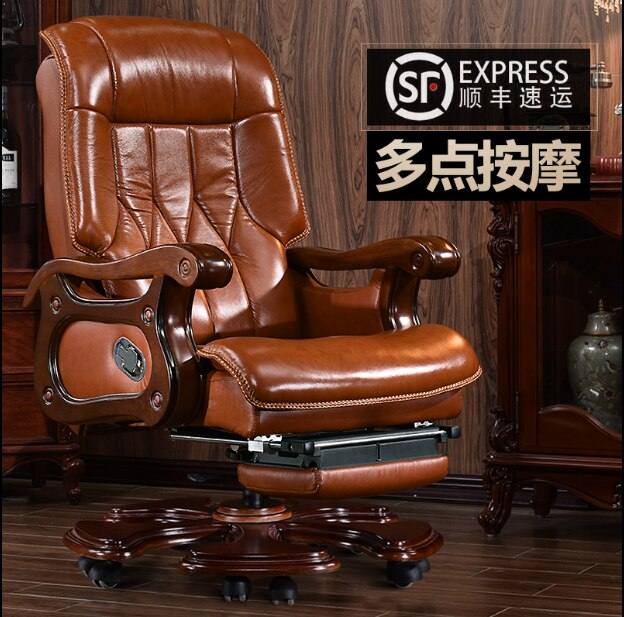 computer chair can lie lifting boss chair leather swivel chair Boss chair leather office chair can lie massage chair computer chair lift swivel leather
